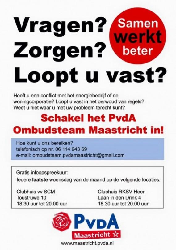 Flyer Ombudsteam PvdA Maastricht