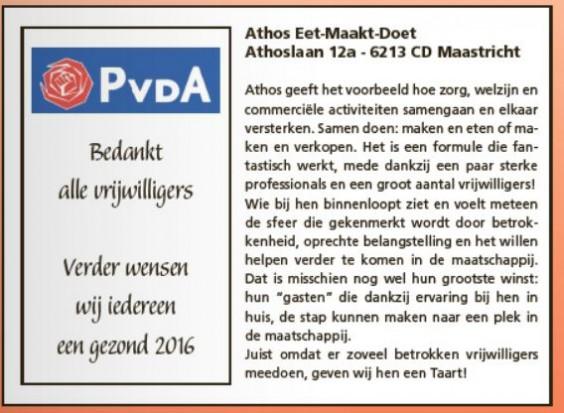 PvdA Maastricht Taart Vrijwilligers Athos eet maakt doet