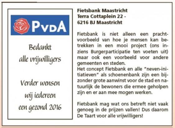 PvdA Maastricht Taart Vrijwilligers Fietsbank
