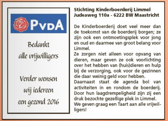 PvdA Maastricht Taart Vrijwilligers Kinderboerderij Limmel