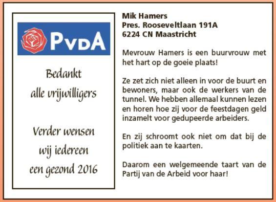 PvdA Maastricht Taart Vrijwilligers Mik Hamers