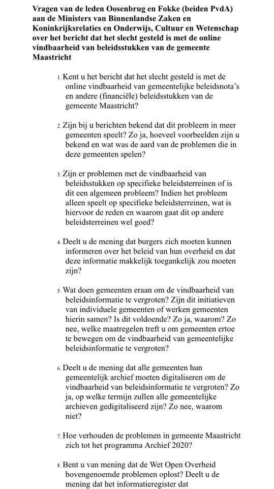 Vragen Fokke Oosenburg vindbaarheid stukken op website Maastricht